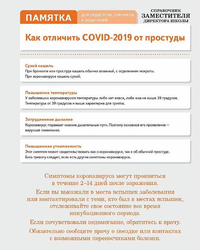 Памятка. Как отличить COVID-2019 от простуды