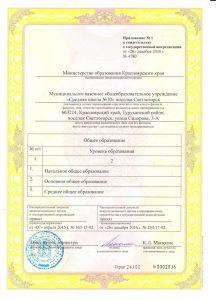 Свидетельство о государственной аккредитации МКОУ СШ №100002