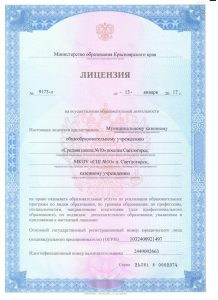 лицензия МКОУ СШ №100001
